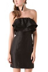 Thread Short Strapless Double Ruffle Dress - Lyst
