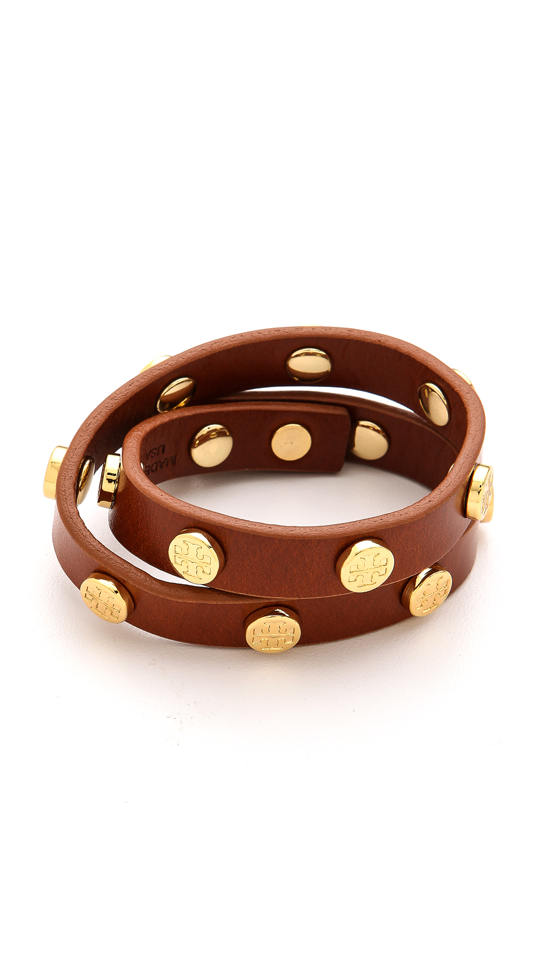 burch wrap logo bracelet cuoio in brown