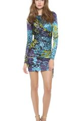 Versace Long Sleeve Printed Dress - Lyst