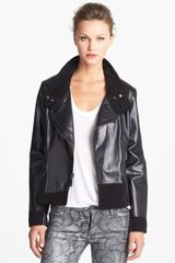 Vince Camuto Leather Suede Moto Jacket - Lyst