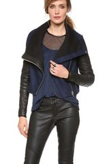 Yigal Azrouel Felt Jacket with Leather Sleeves - Lyst