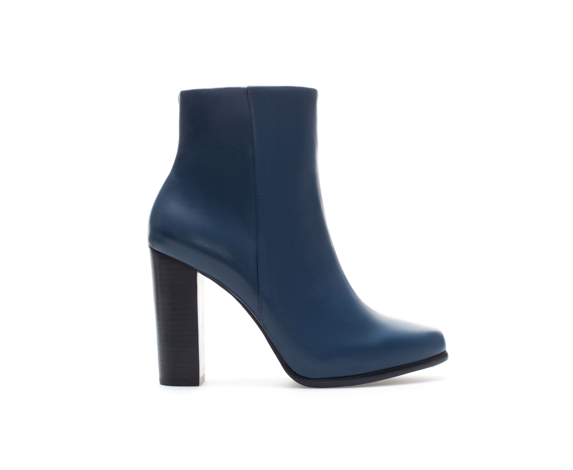 Zara Leather Ankle Boot with Daytime Heel in Blue | Lyst