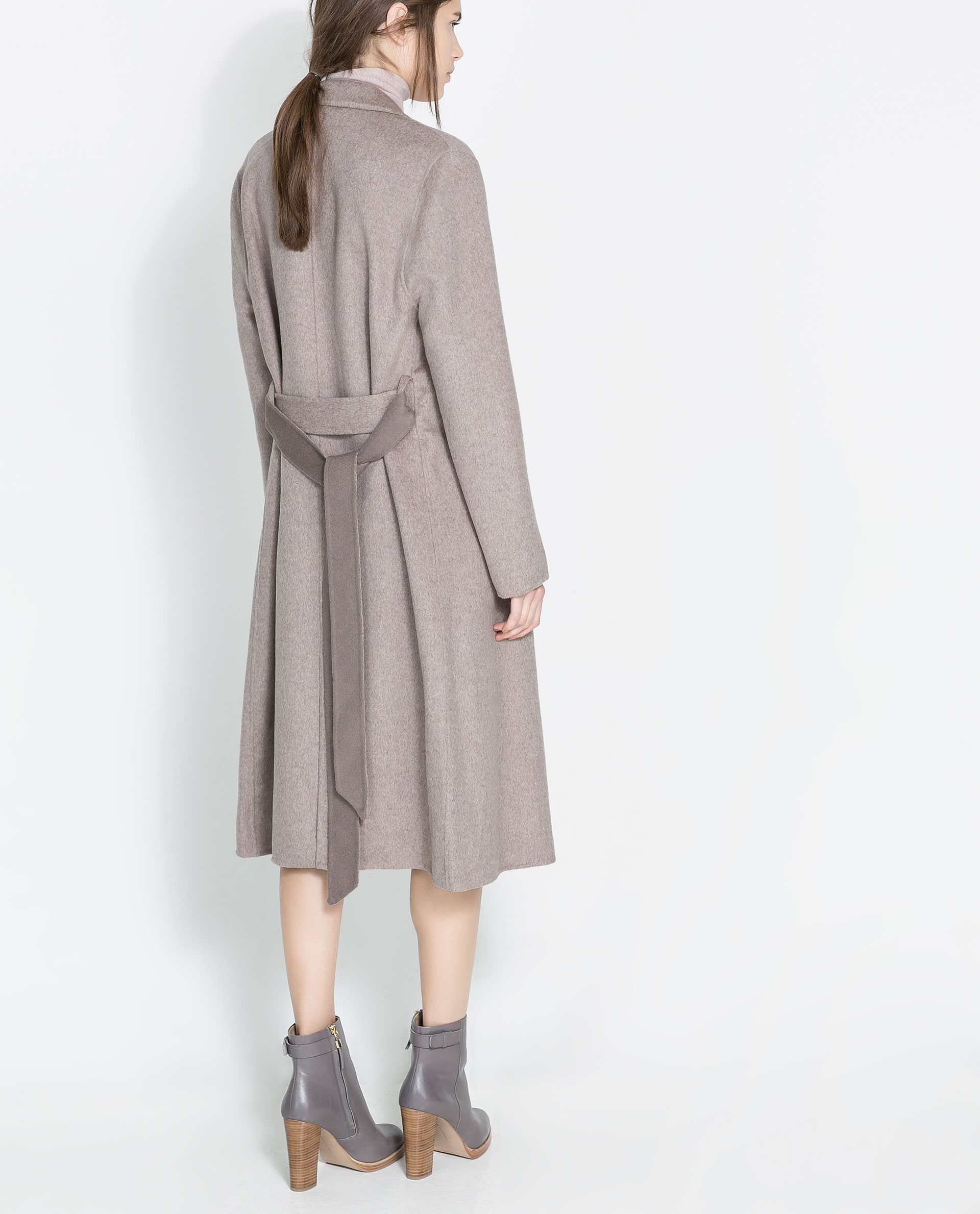 Zara Coat With Lapels And Belt In Gray Lyst