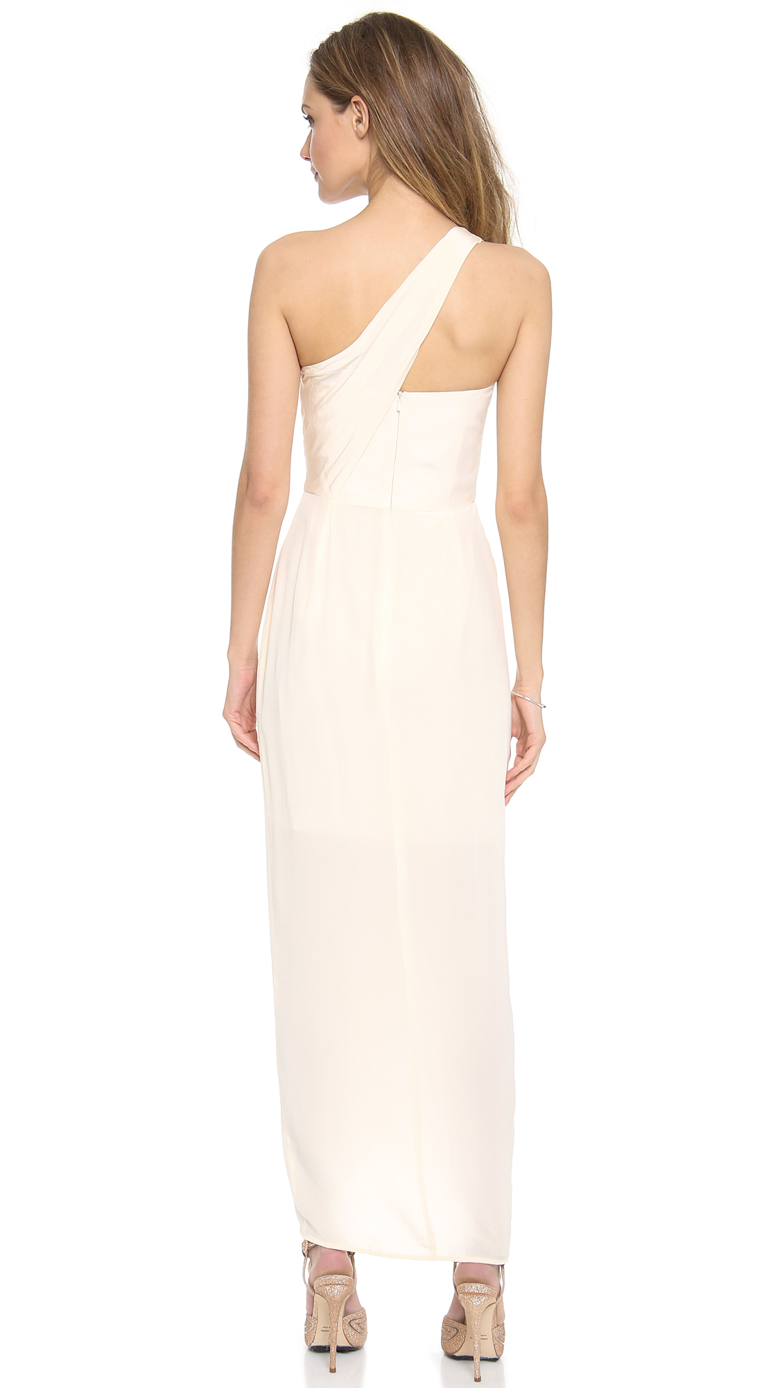 Zimmermann One Shoulder Knot Gown In White Lyst