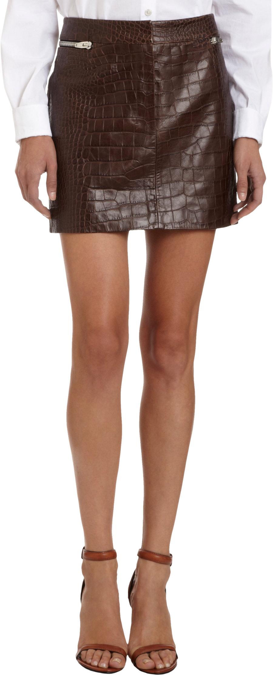 wang snakeskin embossed leather mini skirt in