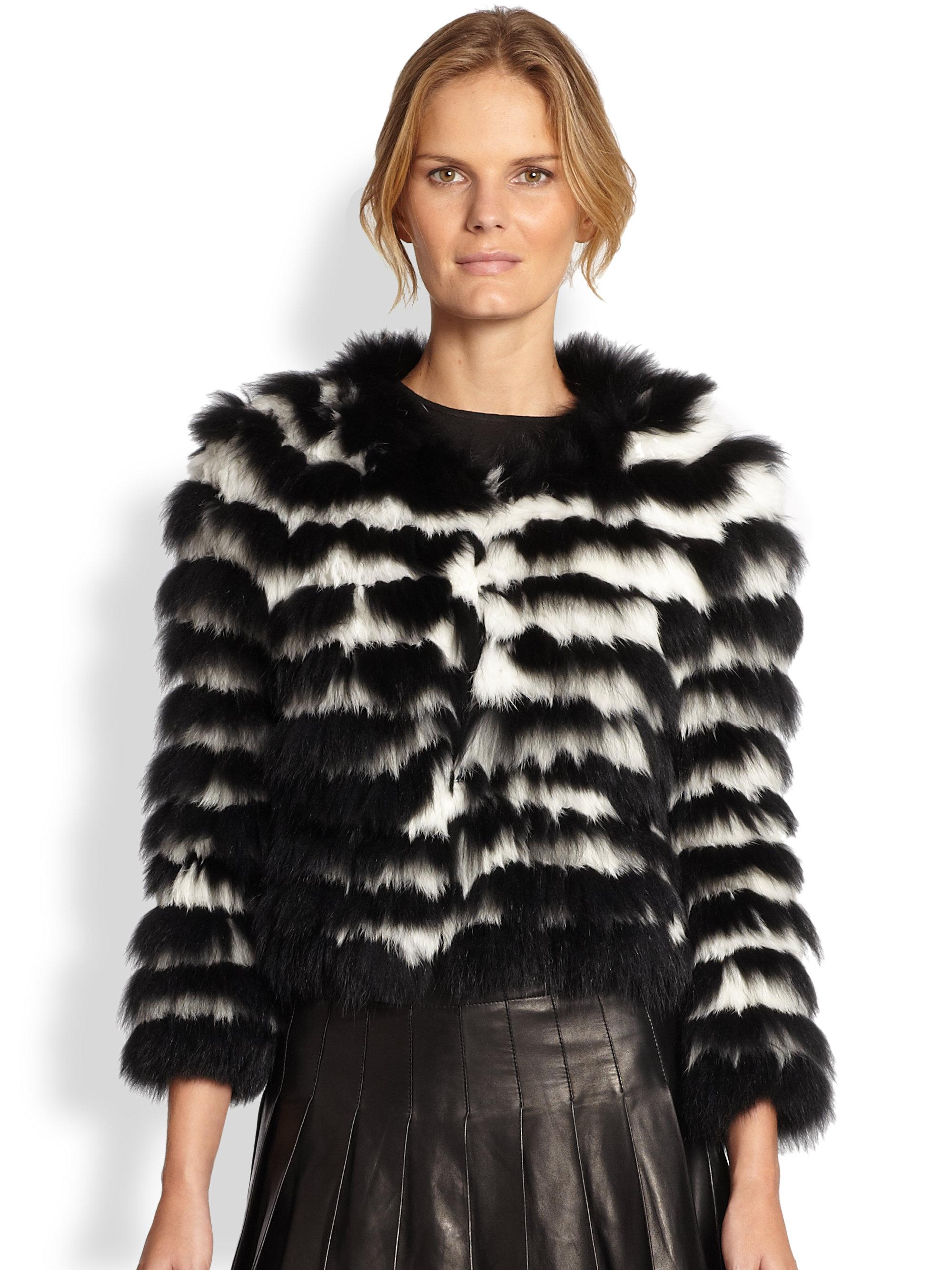 Alice + olivia Fawn Striped Fur Jacket in Black | Lyst