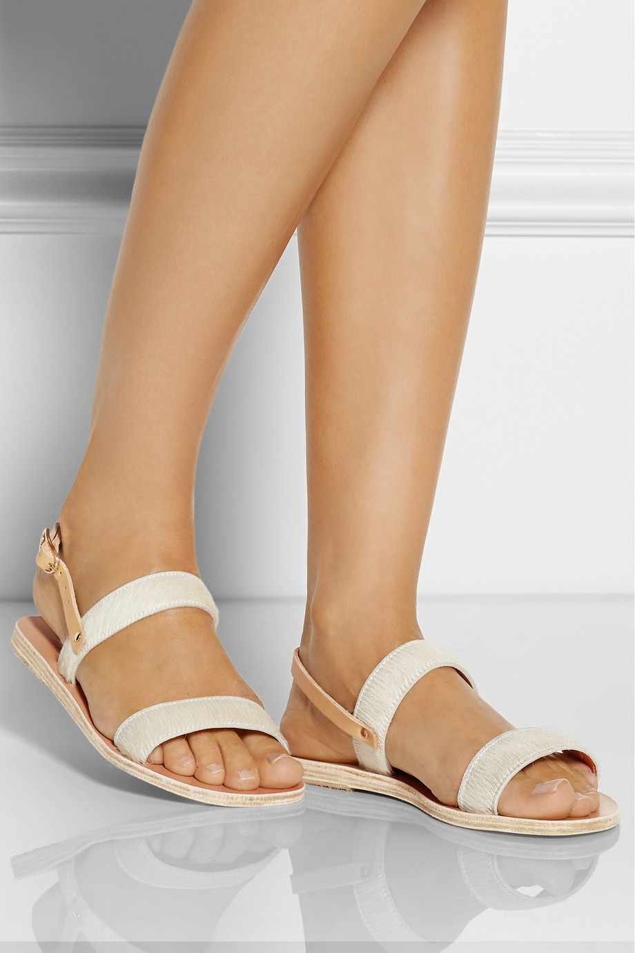 167e362baa00a Lyst - Ancient Greek Sandals Clio Calf Hair And Leather Sandals in White