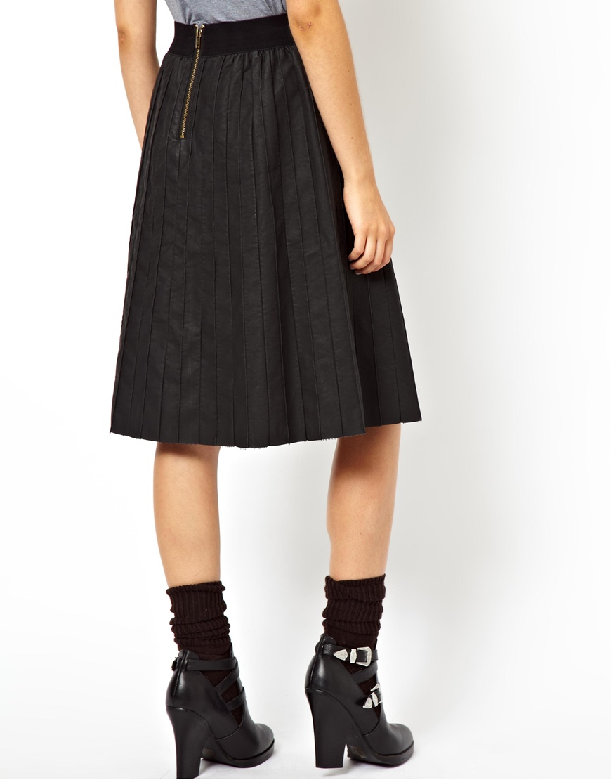 Asos Exclusive Leather Look Pintuck Pleated Midi Skirt in Black | Lyst