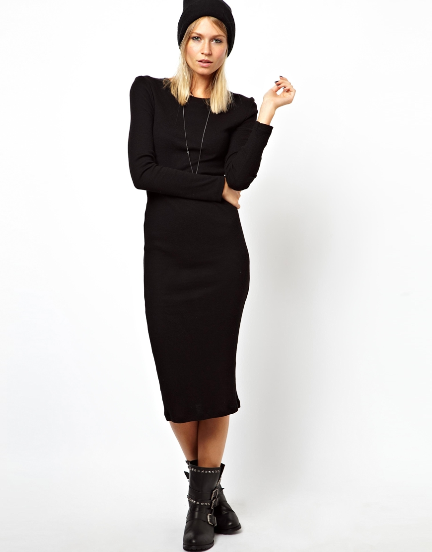 Lyst Asos Midi Ribbed Bodycon Dress With Long Sleeve In