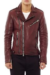 Balmain Distressed Leather Biker Jacket - Lyst