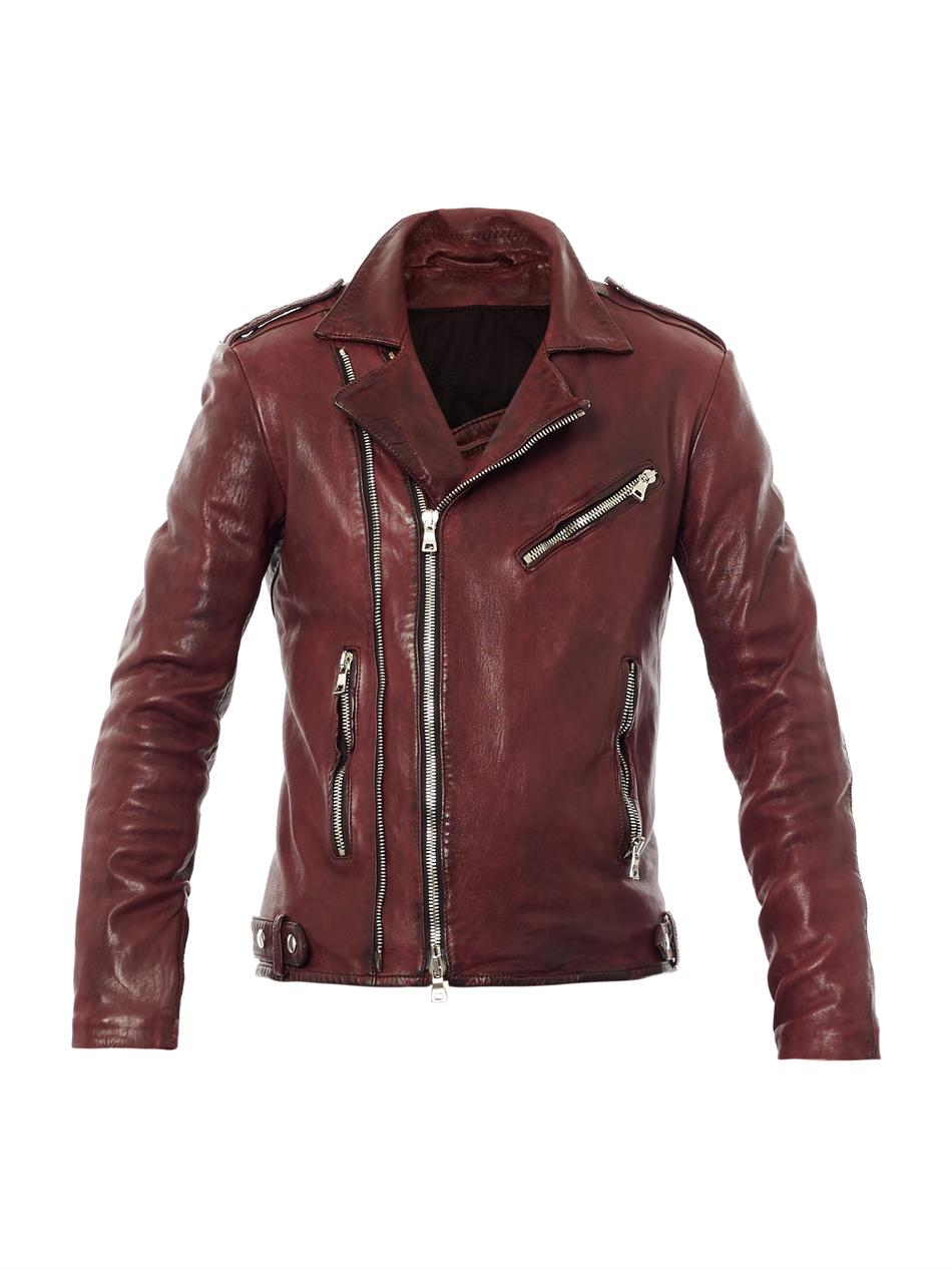 Balmain Distressed Leather Biker Jacket In Red Burgundy