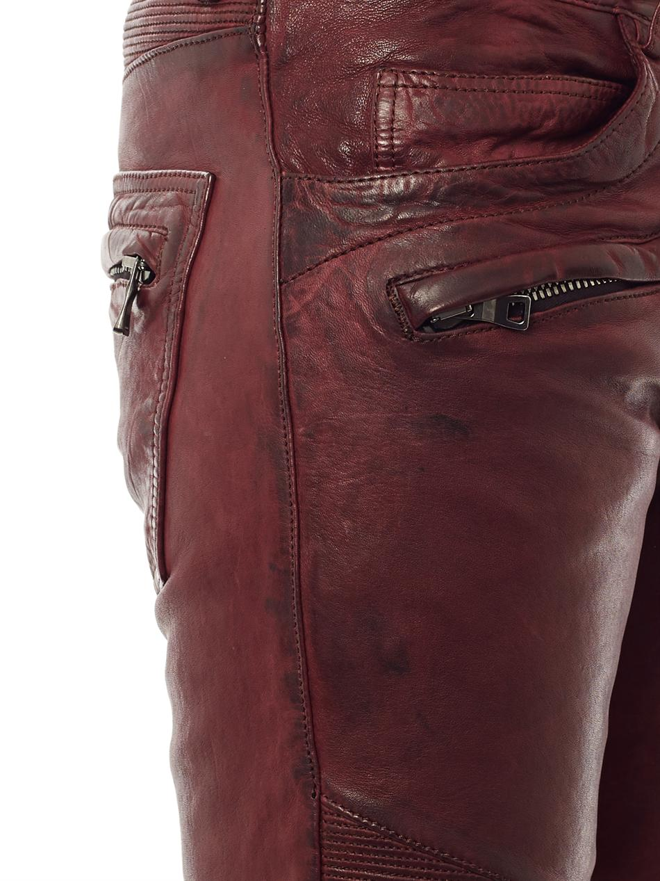 Balmain Distressed Leather Jeans In Red For Men Lyst