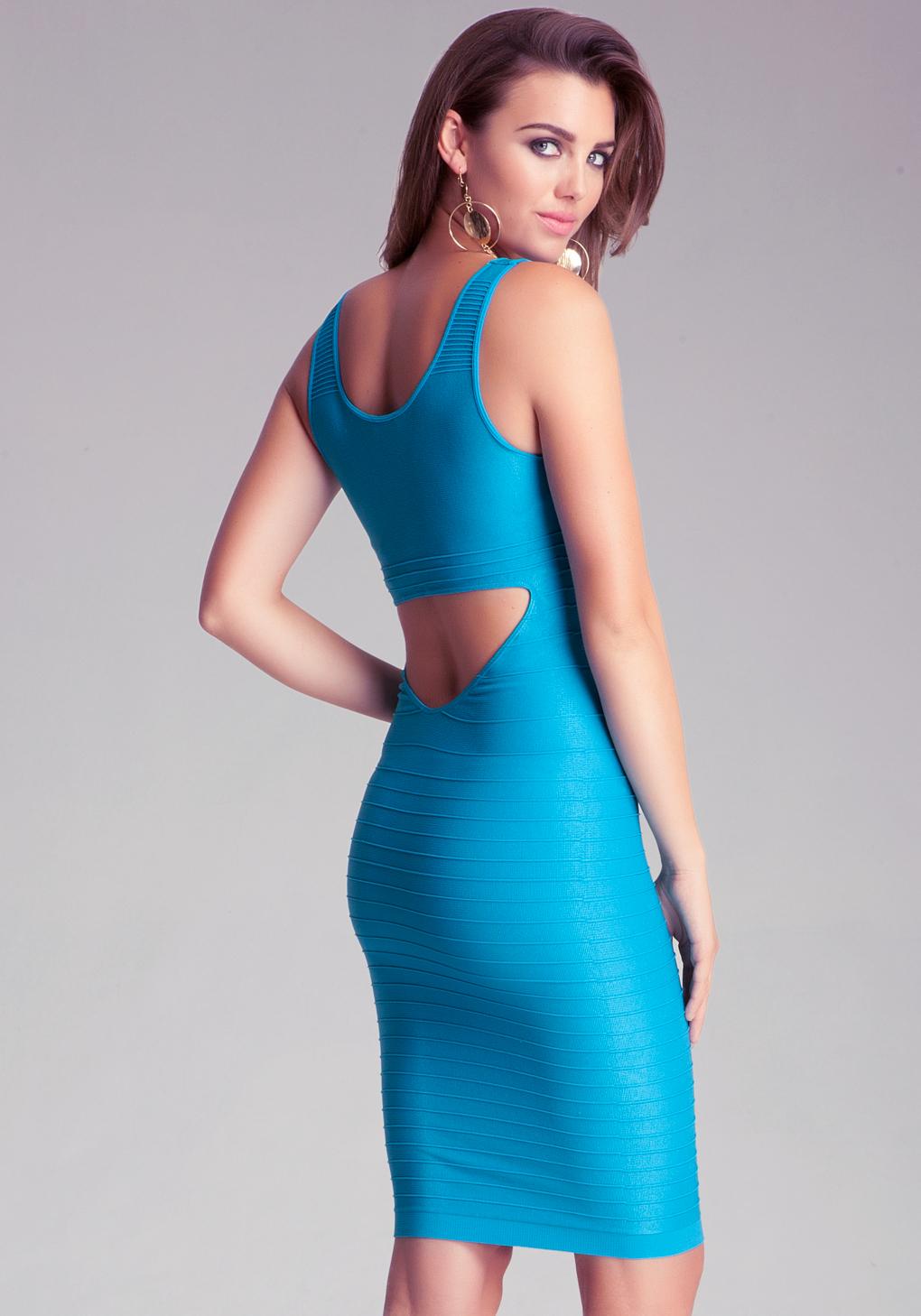 Lyst - Bebe Midi Back Cutout Shine Dress in Blue