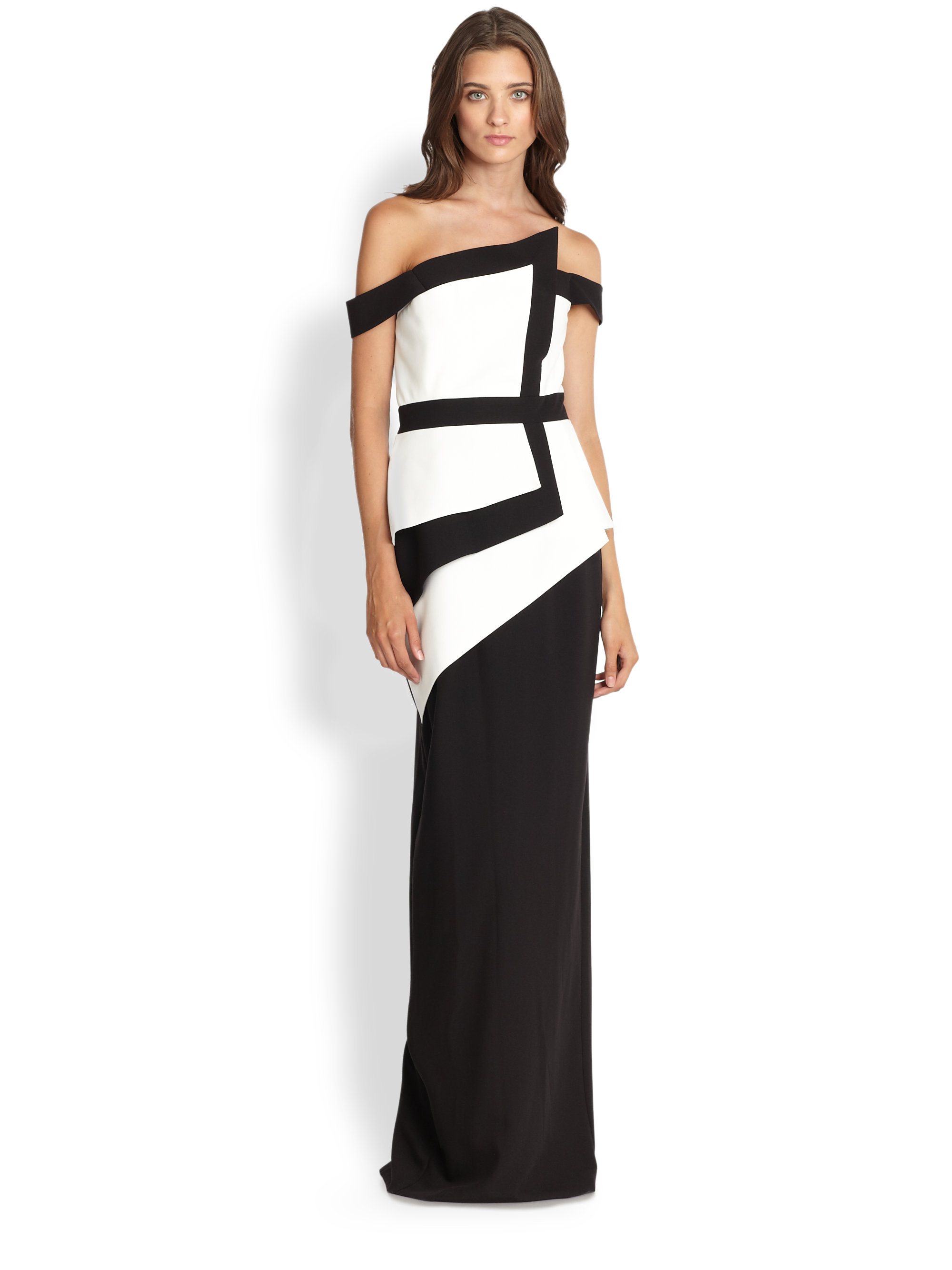 Lyst - Black Halo Asymmetrical Stretch Crepe Off-Shoulder Gown in Black