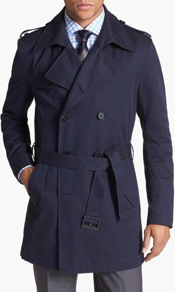 boss by hugo boss double breasted trench coat in blue for men navy lyst. Black Bedroom Furniture Sets. Home Design Ideas