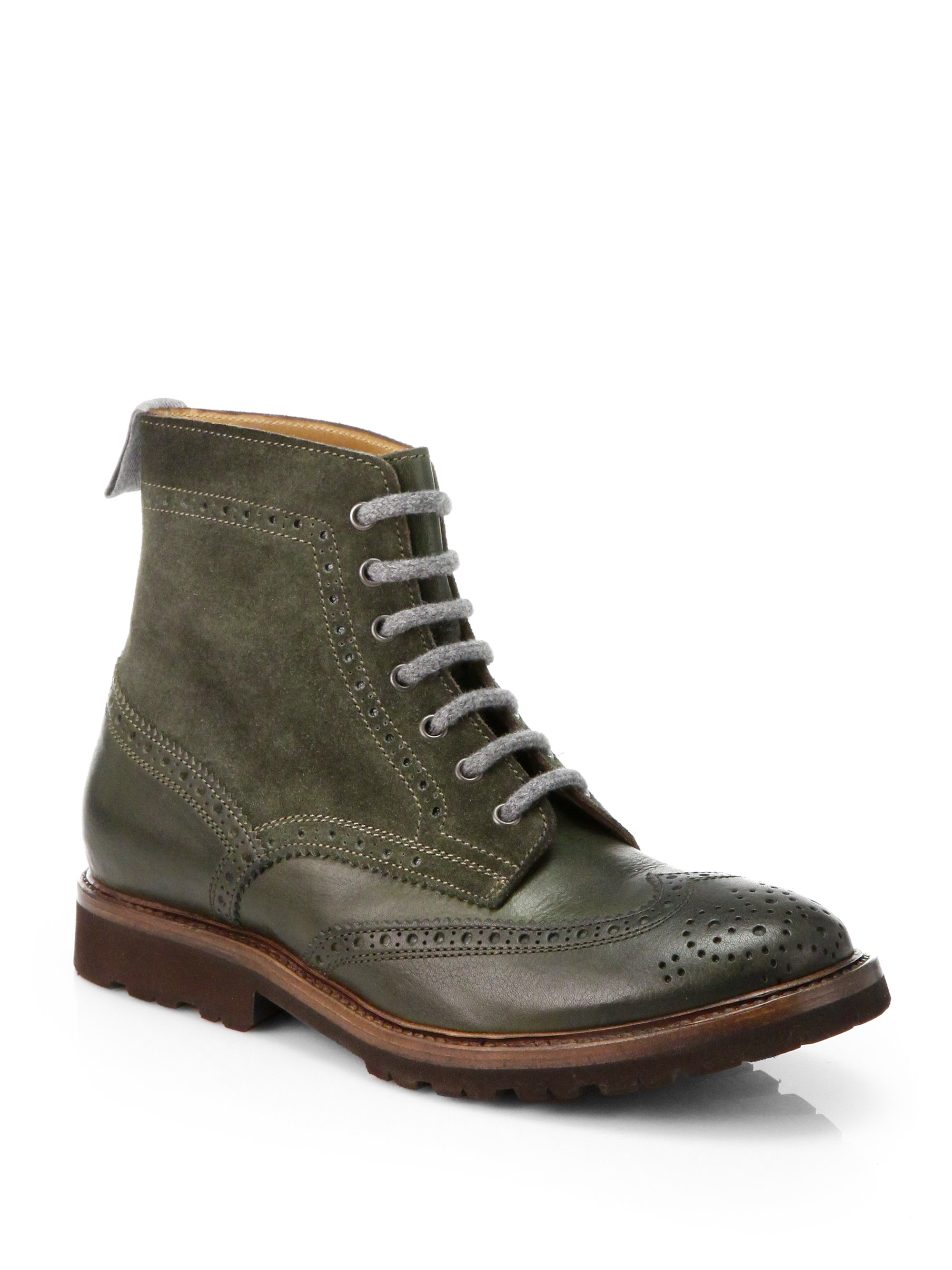 brunello cucinelli leather suede wingtip boots in green