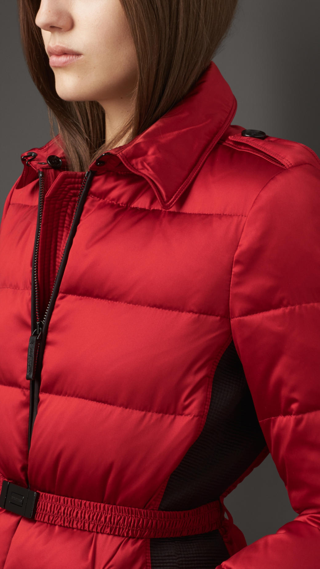Lyst Burberry Fur Trim Technical Satin Puffer Jacket In Red