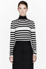 Burberry Prorsum Black and White Merino-silk Blend Striped Turtleneck - Lyst