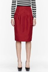 Burberry Prorsum Red Twill Paneled Skirt - Lyst