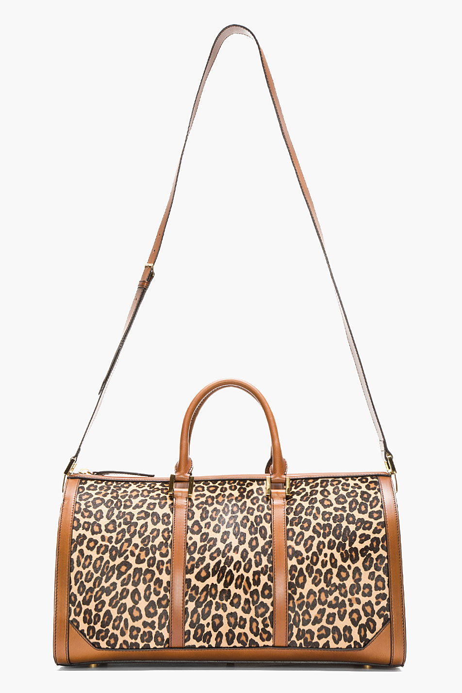 380012a6568b Lyst - Burberry Prorsum Tan Leopard Print Calf hair House Check Duffle Bag  in Brown for Men