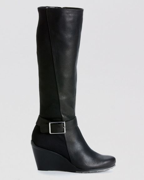 calvin klein wedge boots taya stretch back in black