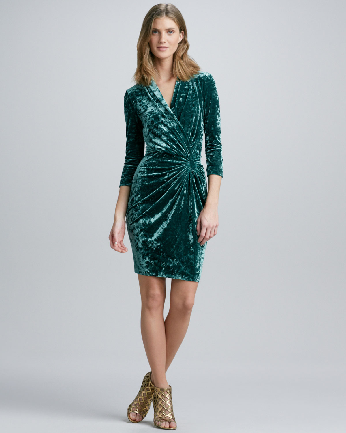 Catherine Malandrino Fauxwrap Crushed Velvet Dress In