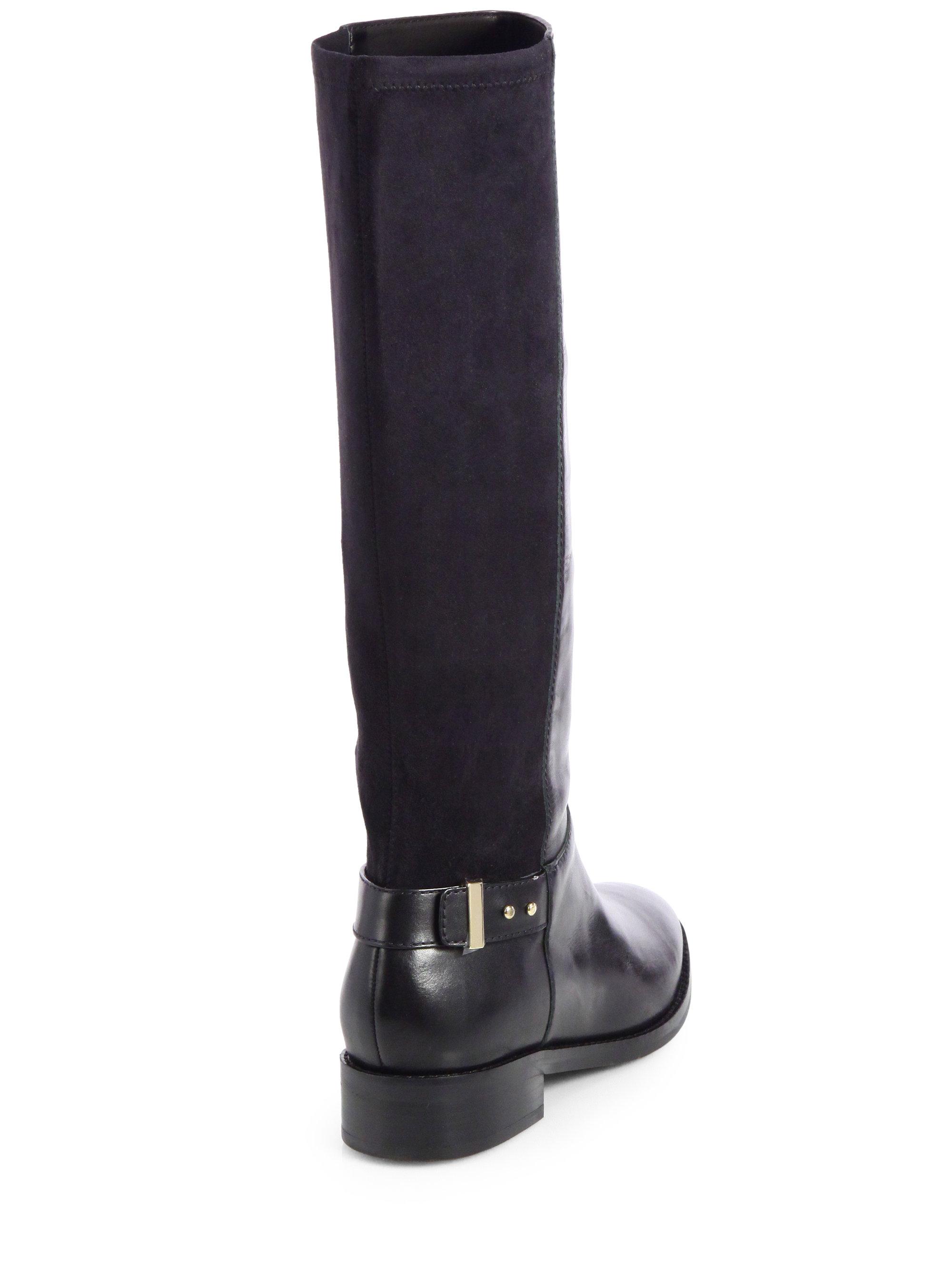 Cole haan Adler Leather Suede Kneehigh Boots in Black | Lyst