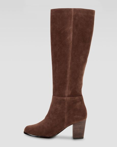cole haan cassidy suede knee boot chestnut in brown
