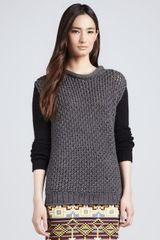 Cut25 By Yigal Azrouël Colorblock Crossstitched Sweater - Lyst