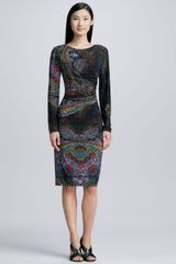 David Meister Jersey Printed Longsleeve Dress Multi - Lyst