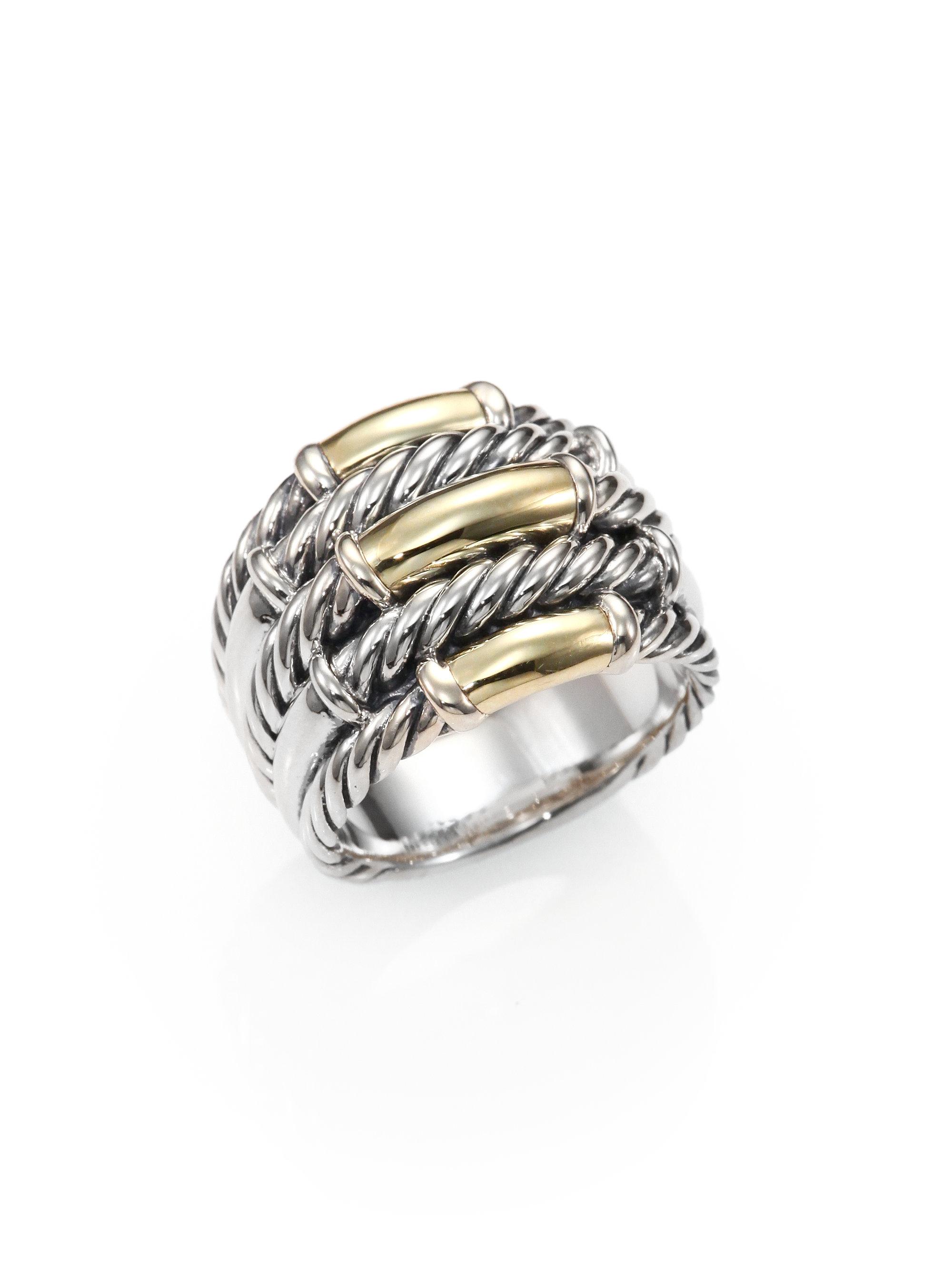 david yurman sterling silver 18k gold ring in silver