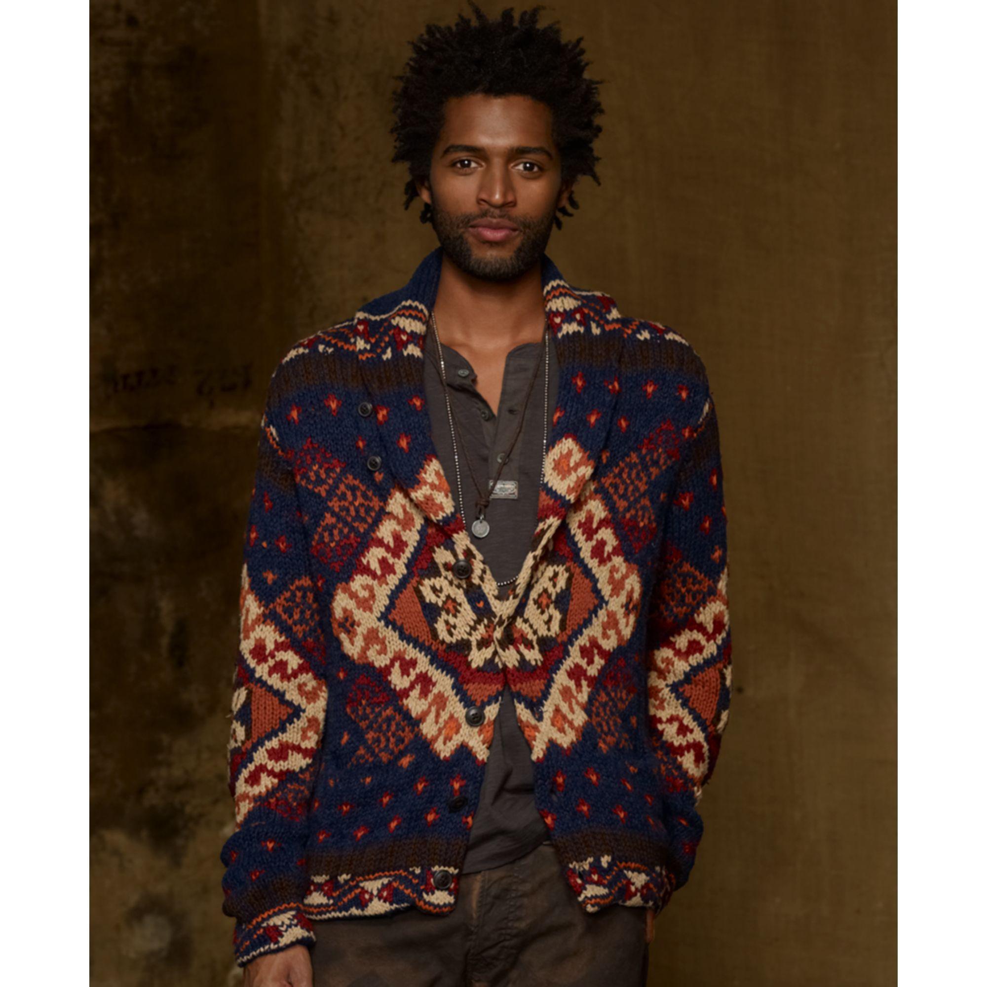 Ralph Lauren Shawl Collar Intarsia Linenblend Cardigan For Men Lyst