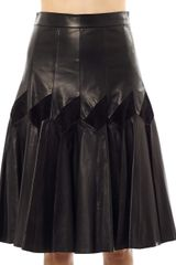 Derek Lam Leather Suede Pleat Skirt - Lyst