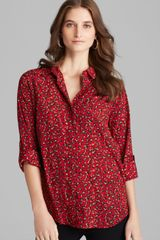 DKNY Drop Shoulder Button Front Blouse with Curved Hem - Lyst