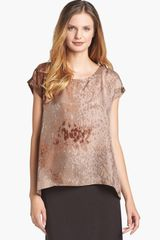 Eileen Fisher Sea Spray Print Silk Tee - Lyst