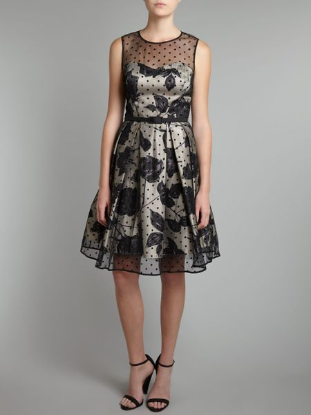 Eliza J Spot Skirt Prom Dress In Gray Black Multi Lyst