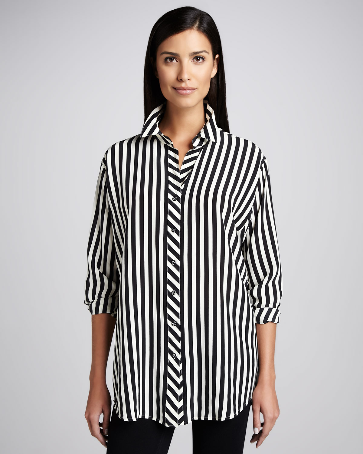 Lyst Go By Go Silk Long Striped Silk Blouse Petite In Black