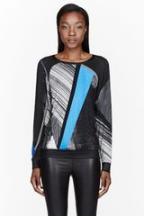 Helmut Lang Blue and Grey Fracture Print Long Sleeve T-Shirt - Lyst