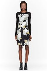 Helmut Lang Grey and Yellow Overlap Cubist Print Dress - Lyst
