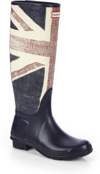 Hunter Brit Canvas Rain Boots in Blue (DARK NAVY) | Lyst