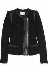 Iro Lina Leather and Open Knit Wool Blend Jacket - Lyst