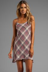 James Perse Bias Plaid Slip Dress in Taupe - Lyst