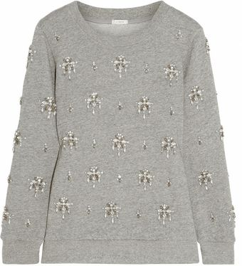 J.Crew Crystal-embellished Cotton Sweatshirt - Lyst