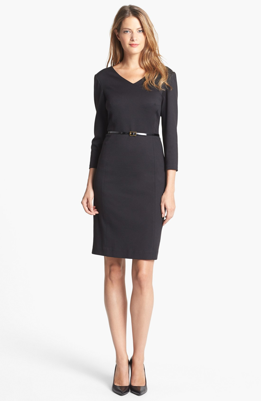 jones new york scarlet ponte sheath dress in black lyst. Black Bedroom Furniture Sets. Home Design Ideas