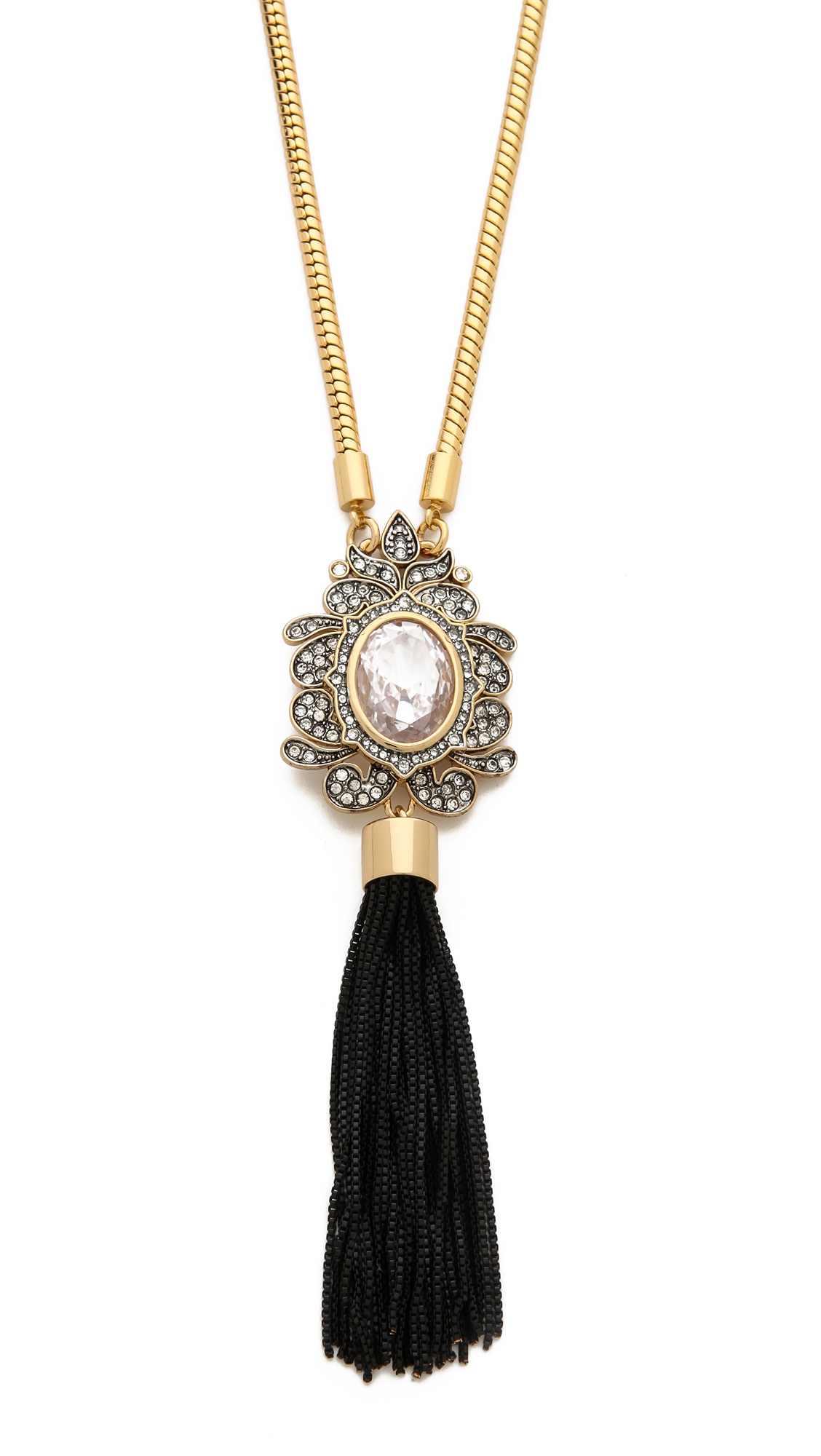 Juicy Couture Vintage Tassel Pendant Necklace In Metallic