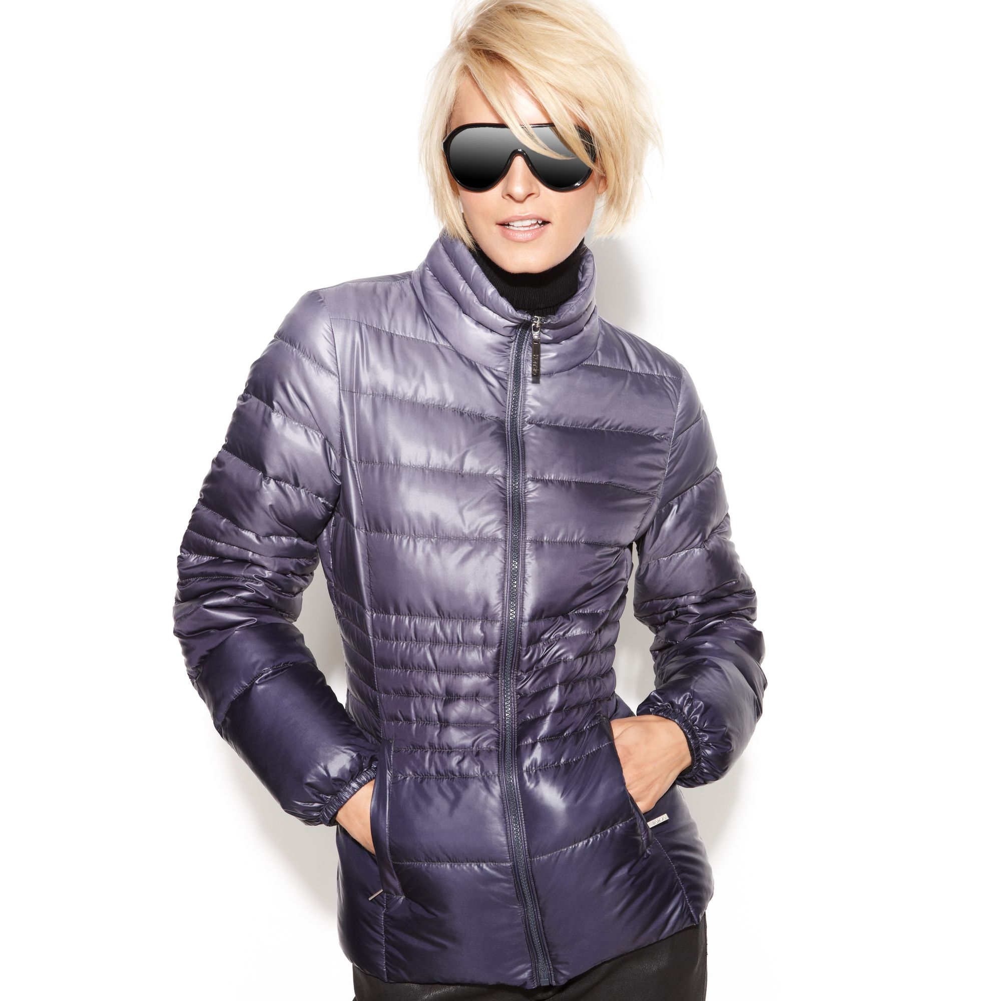 Kensie Ombre Quilted Packable Puffer In Blue Lyst