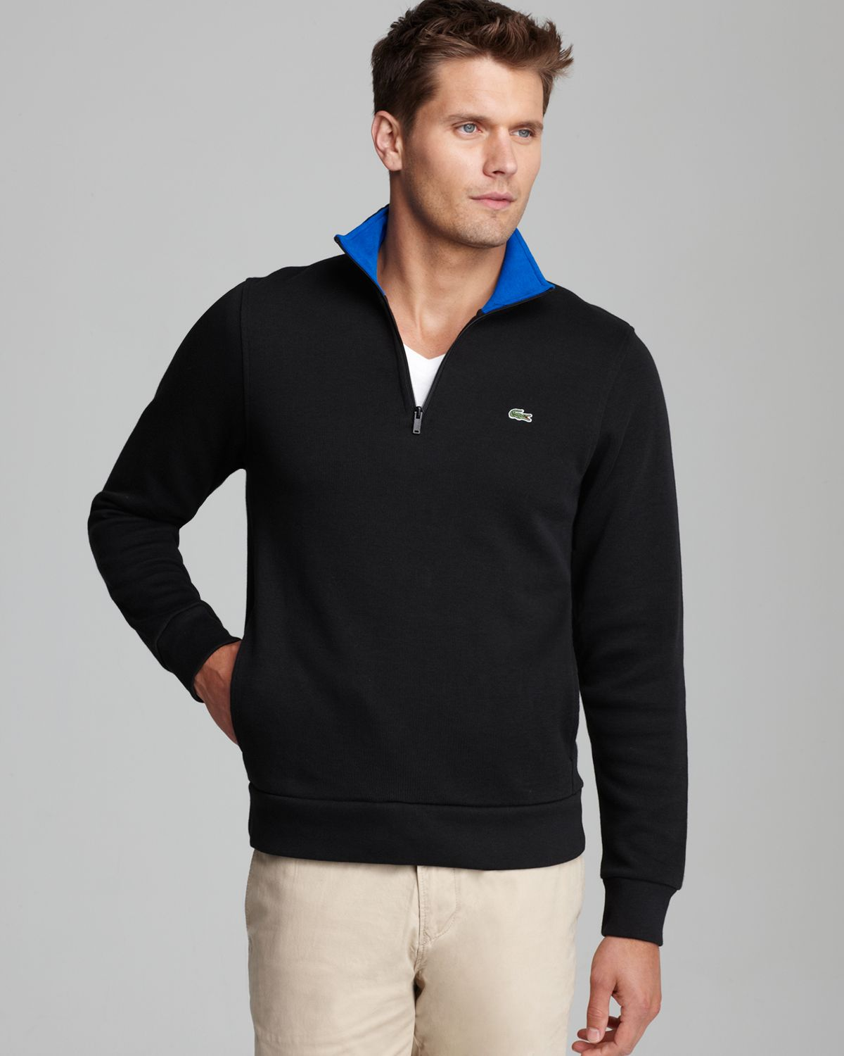 lacoste halfzip pullover sweater in black for men lyst. Black Bedroom Furniture Sets. Home Design Ideas