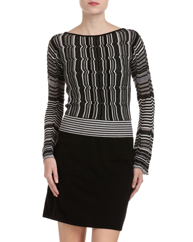 Laundry by Shelli Segal Striped Sweater Dress in Gray - Lyst