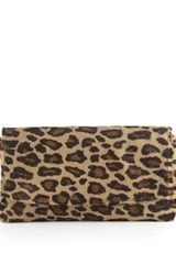 Lauren Merkin June Leopard Print Calf Hair Clutch Bag Camel Gold - Lyst