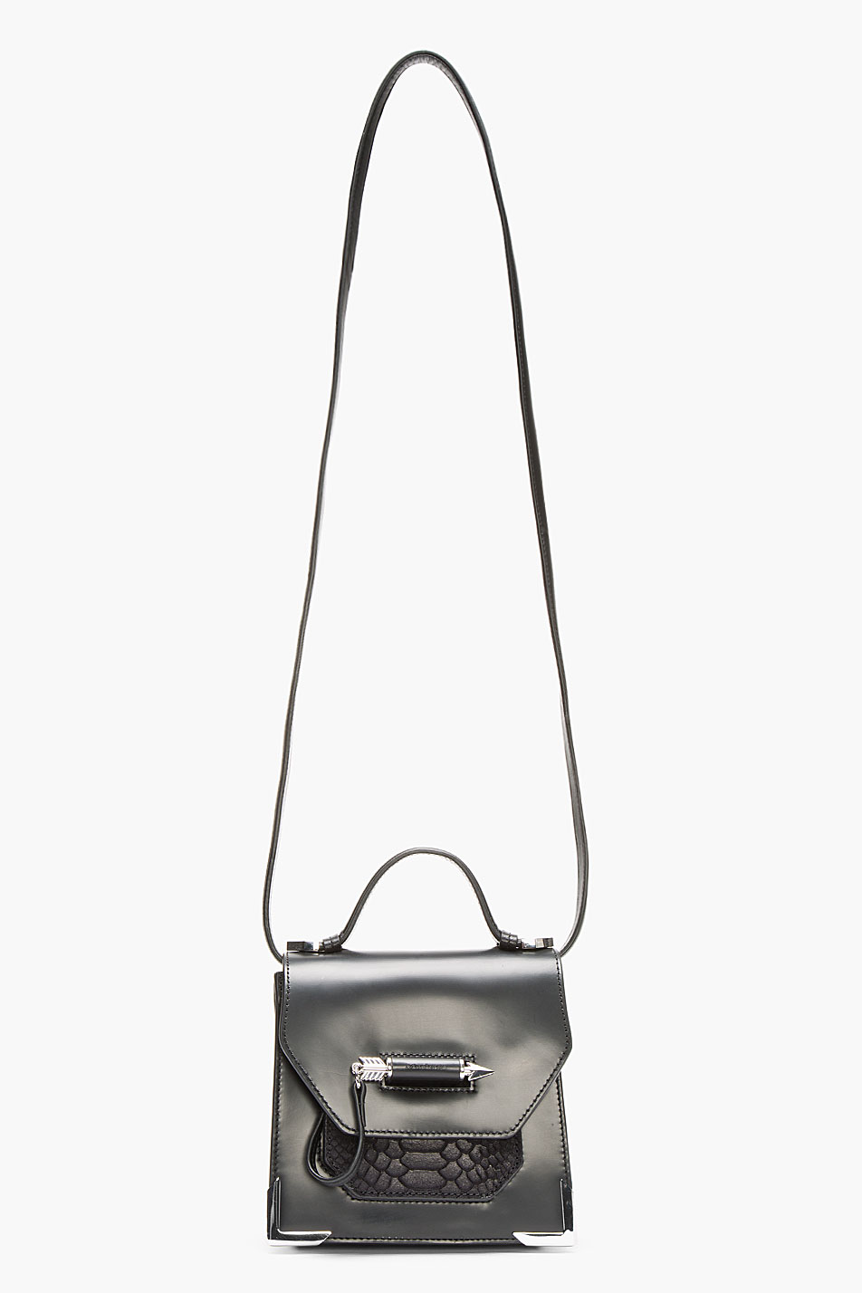 Monogram Small Croc-stamped Shoulder Bag, White